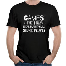 Presente do jogador o único lugar legal para matar pessoas estúpidas streetwear outono topos t impressão fitness apertado t-shirts o pescoço