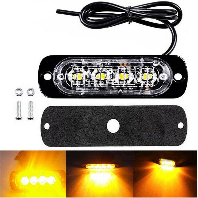 1PCS 12V 24V 4 LED Super Bright Emergency Warning Caution Waterproof Yellow Strobe Light Bar For Auto Car Truck SUV Van