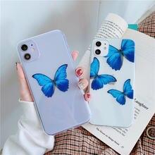 Прозрачный телефонный чехол с синей бабочкой для huawei p20