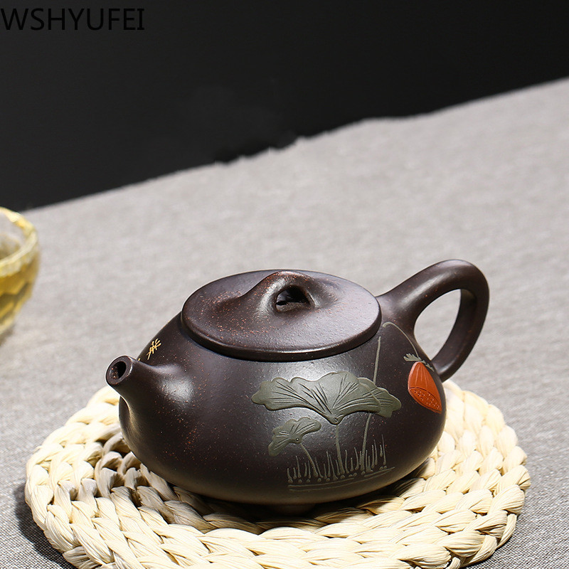 WSHYUFEI Chinese Yixing Purple Sand Teapot Handmade Colourful Mud Painted Plum Fragrant Stone Scoop Teapot 188 Ball Holes 210ml