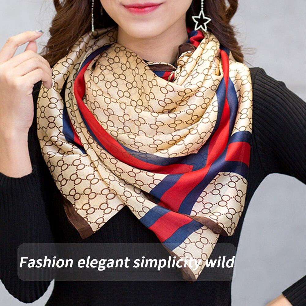 Spring Fashion New Stripe Letters Simulation Silk Scarf Shawl Ladies Elegant Ladies Sunscreen Scarf Long Wild Shawl