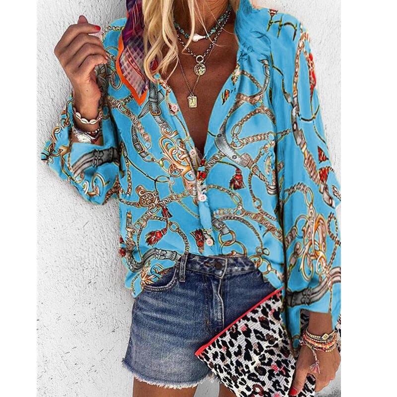 Closeout DealsòWomen Printed Blouse Long Sleeve Chiffon Blouse Plus Size Loose Tops Women Summer Casual Shirts WSH6