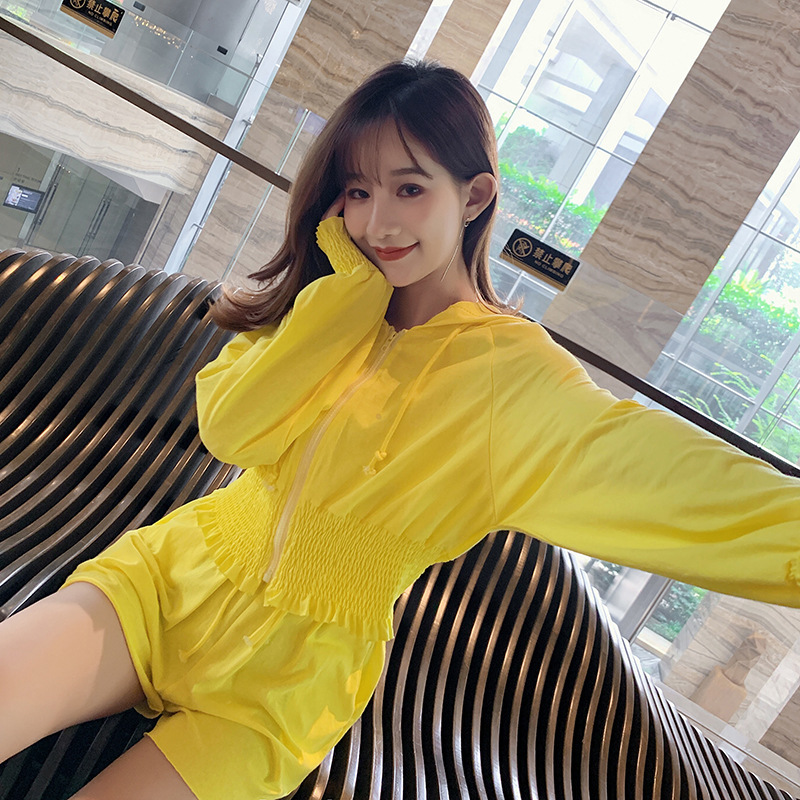 Two-Piece Autumn Clothing Women's 2019 New Style Korean-style High-waisted Shorts Women's Long-Sleeve Hooded Sun-resistant Tops