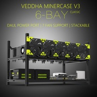 High Performance Veddha V3C6 GPU Mining Rig Aluminum Alloy Stackable Case Up To 6 GPU Open Air Frame Rack Bracket