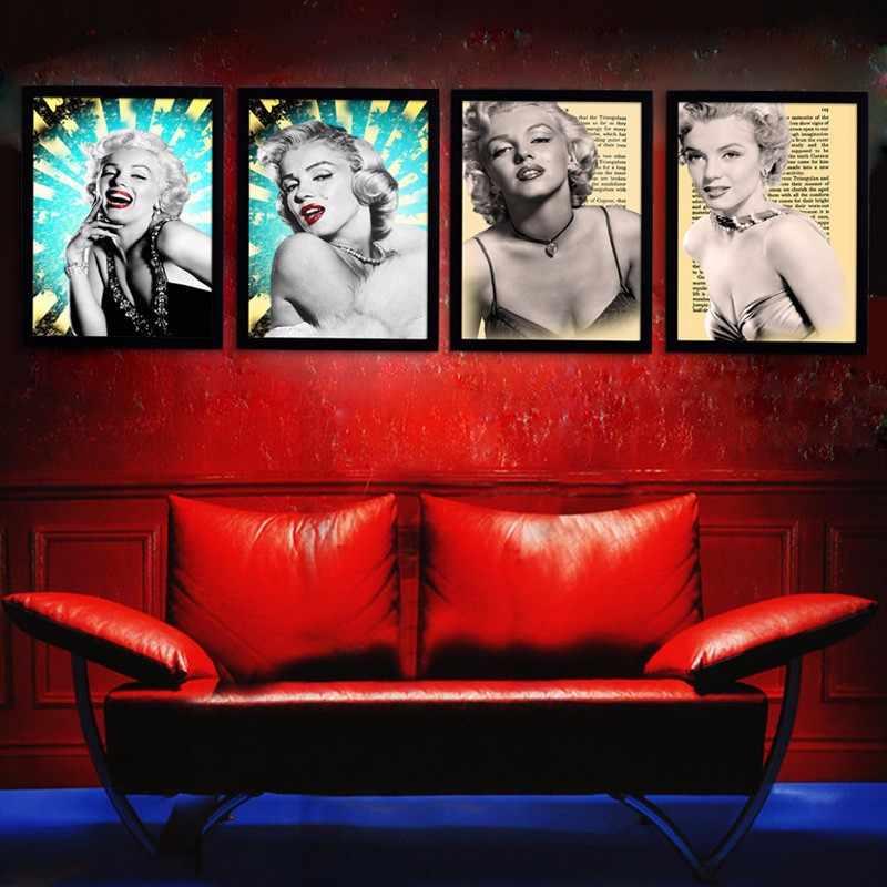 مارلين مونرو جدار صور لغرفة المعيشة الفيلم الملصقات والمطبوعات الرسم على لوحات القماش الجدارية ديكور المنزل أسود أبيض الشكل