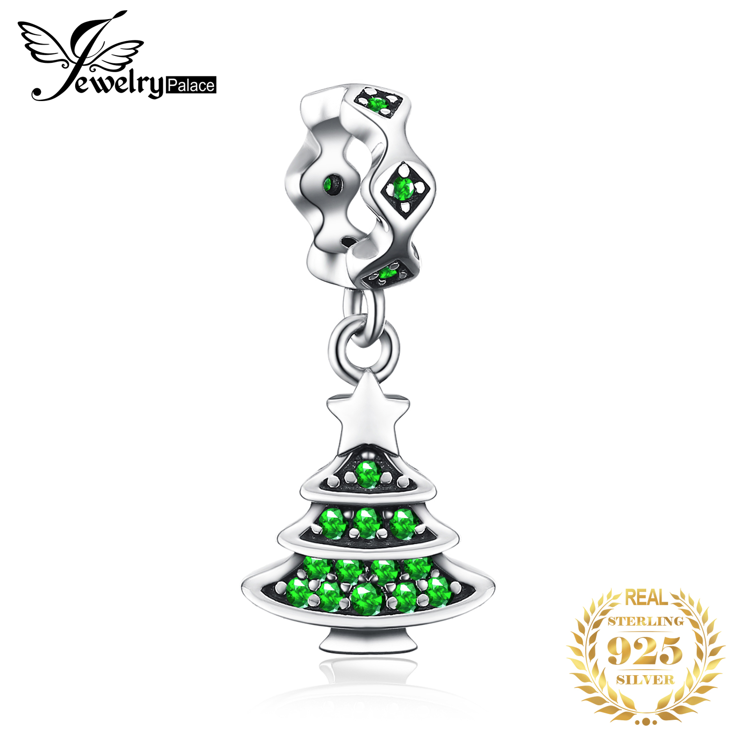 JewelryPalace Christmas Tree 925 Sterling Silver Bead Charms Silver 925 Original For Bracelet Silver 925 Original Jewelry Making