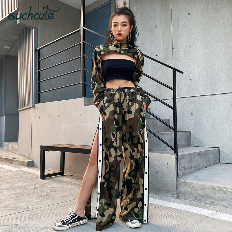 SUCHCUTE Camouflage Two Pieces Sets Tops And Smock Women Suits Tracksuit Christmas Party Long Sleeve Spring 2020 Dancing Clothes