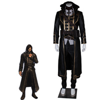 Dishonored Cosplay Corvo Attano Costume Carnival Cosplay Costume Full Sets Long Leather Coat High Quality Cool Men Halloween
