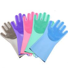 Food Grade Dishwashing Gloves Silicon Dishes Cleaning Gloves With Cleaning Brush Kitchen Housekeeping Washing Rubber Gloves
