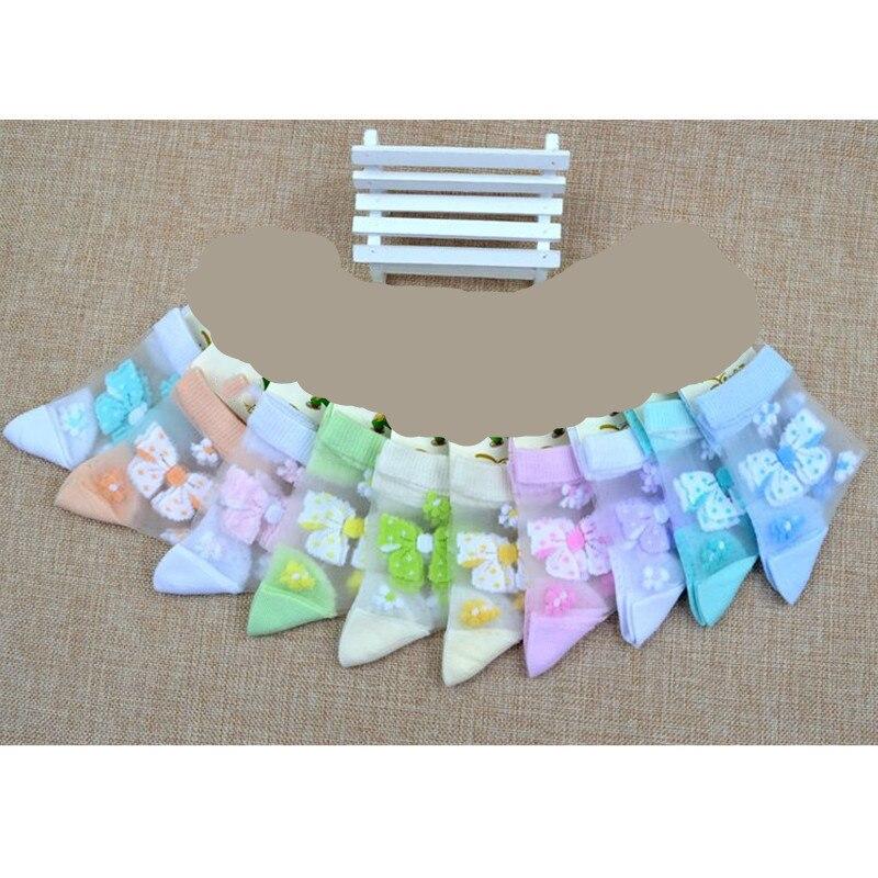 1 4Pairs Lot Summer Girls Lovely Butterfly Crystal Silk Socks Children Kids Baby Girl Mesh Floral
