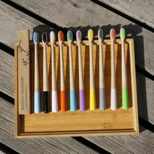 Natural Bamboo Toothbrush Colorful Toothbrush Tapered Bamboo Handle Soft Bristle Toothbrush Adult Toothbrush