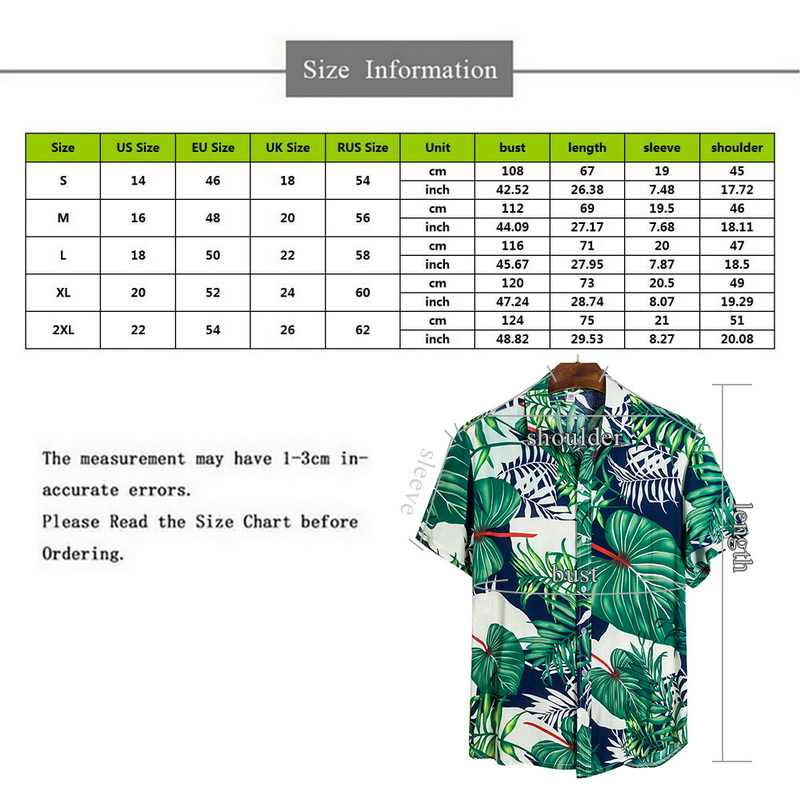 Baru Musim Panas Pria Hawaii Kemeja Kasual Pria Tropis Tombol Tops Fashion Kemeja Kasual Lengan Pendek Pria Slim Fit kemeja