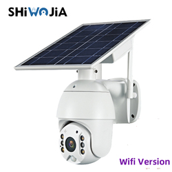 SHIWOJIA versión Wifi 1080P HD Panel Solar vigilancia en exterior cámara CCTV impermeable casa inteligente alarma de intrusión de voz de dos vías
