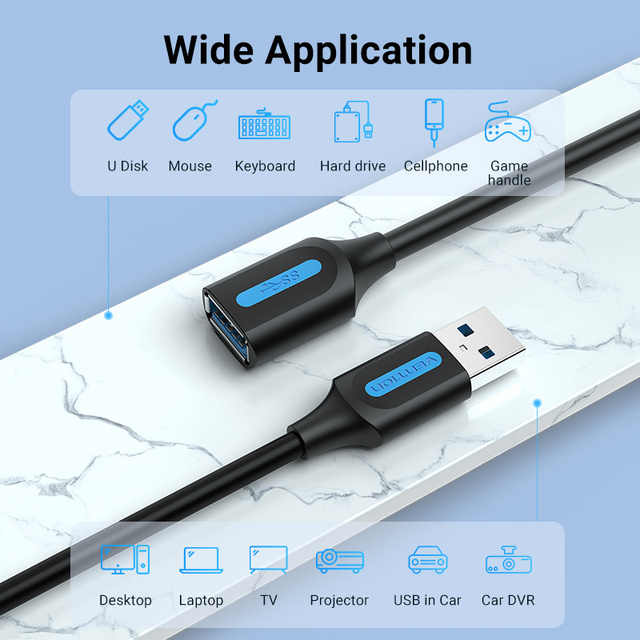 Vention USB 3.0 Extension Cable USB 3.0 2.0 Cable Extender Data Cord for PC Smart TV Xbox One SSD Fast Speed USB Cable Extension 3