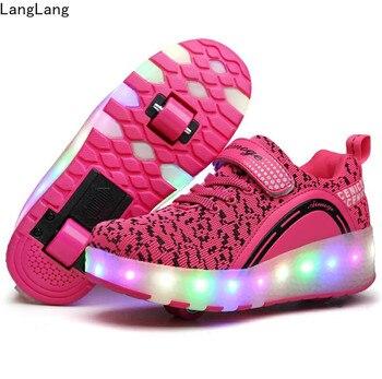 Zapatillas ligeras LED Con dos Ruedas para patines de Ruedas para niños y niñas, Zapatos informales Con Ruedas para niñas, Zapatillas Con Ruedas rosas