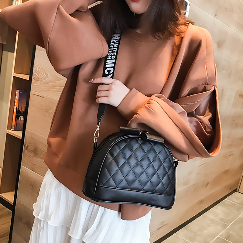 Fashion Crossbody Bags For Women 2020 New Shell Zipper Shoulder Bags Lady Wide Strap Travel Solid Messenger Bag Female Handbag