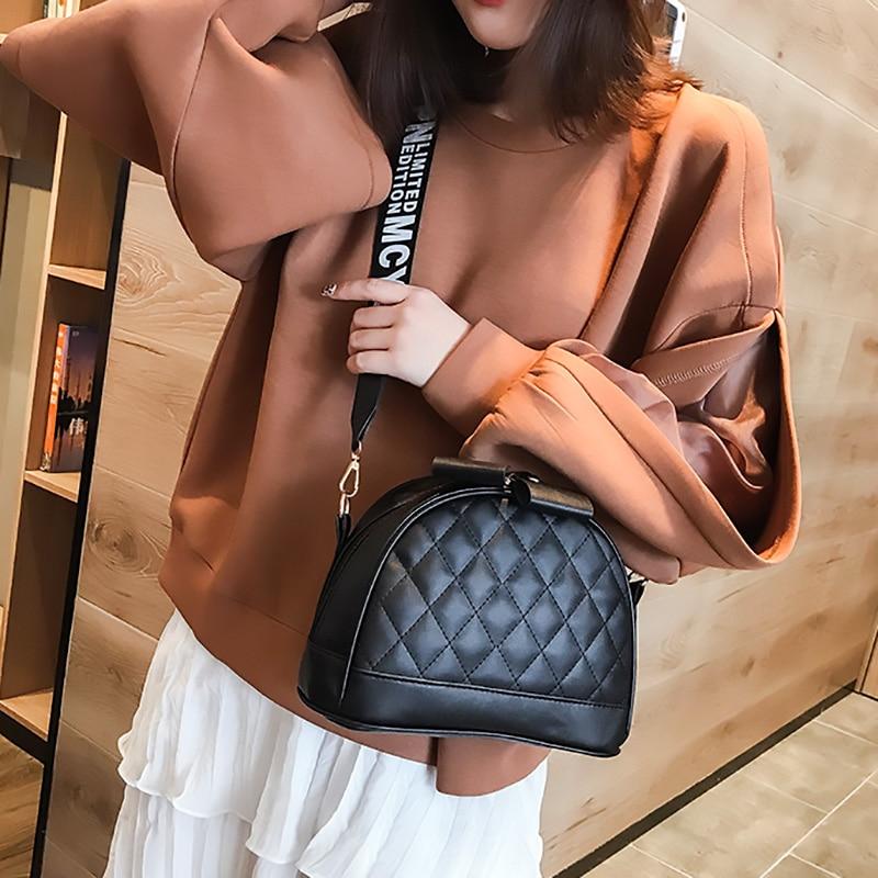 Fashion Crossbody Bags For Women 2020 New Shell Zipper Shoulder Bags Lady Wide Strap Travel Solid Messenger Bag Female Handbag