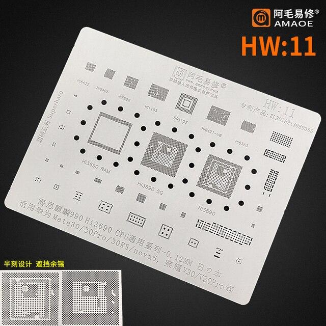 Amaoe BGA reballing stencil For Hisilicon 990 hi3690 Huawei Mate30/Mate30Pro 30RS nova6 Honor V30/V30 Pro CPU Chip Tin Plant Net 1