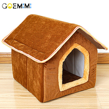 Removable Dog Beds Double Pet House Brown pet cat dog house kennel puppy cave sleeping bed Top Quality Cat