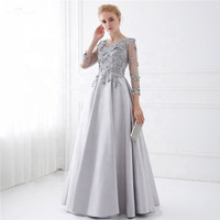Silver Muslim Evening Dresses Lace Appliques Long Sleeves vestidos de festa Dubai Saudi Arabic Evening Gown Prom Dress