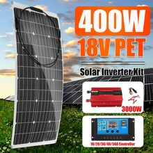 220V Solar Power System 400W Solar Panel Battery Charger 220V/3000W Inverter Kit Complete Controller Home Grid Camp Phone PAD