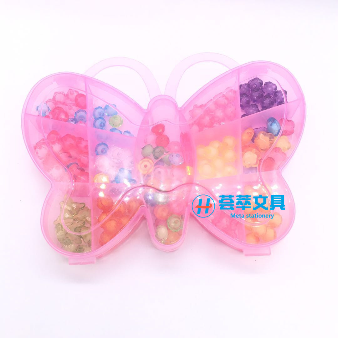 Children Creative Butterfly Flower Boxed Beaded Bracelet Cartoon Color Large Particles Wear Beads GIRL'S DIY Bracelets Necklace