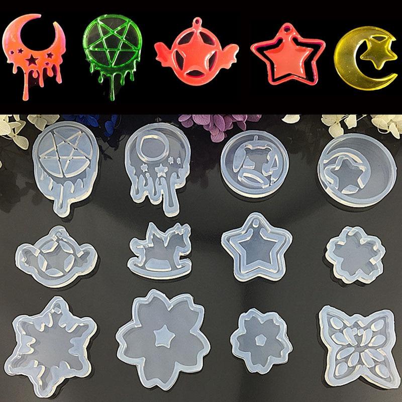 DIY Epoxy Jewelry Crystal Resin Mold Moon Stars Sailors Moon Water Pattern Pendant Trojan Mold Silicone Cake Jewelry Tools