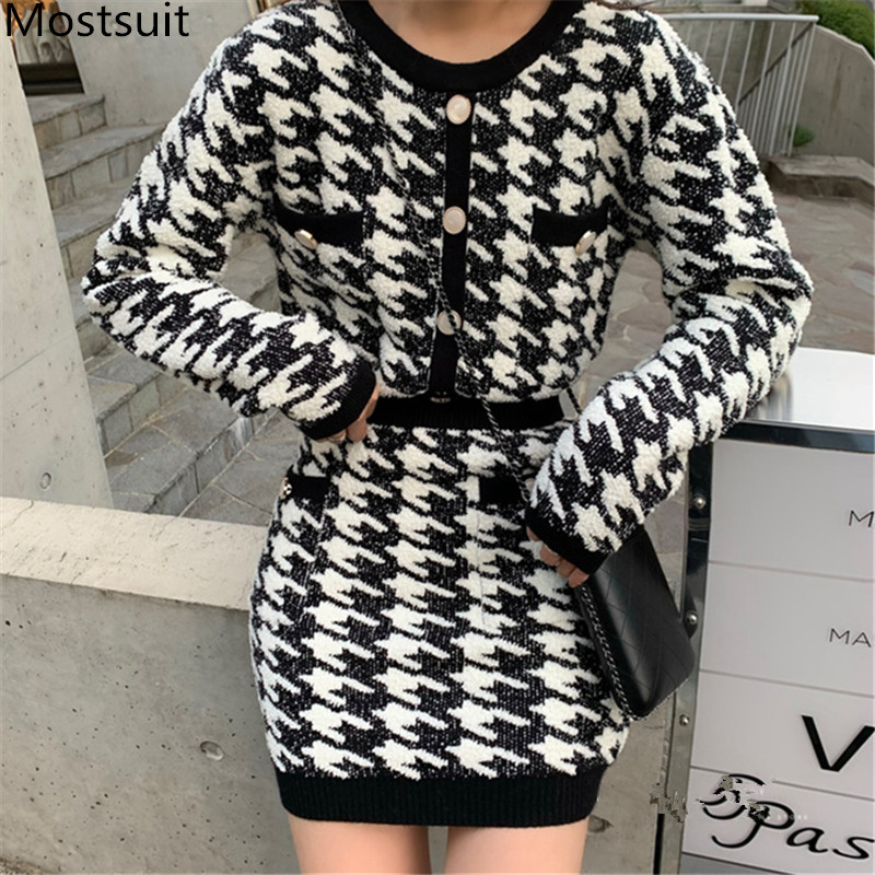 2019 Autumn Winter Houndstooth Knitted 2 Piece Skirt Suits Sets Women Single Breasted Cardigan Tops + Mini Skirt Vintage Sets