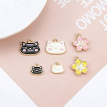 4pcs japanese and korean girl cute fashion pendant cartoon cat cherry blossoms earrings for women diy jewelry accessories