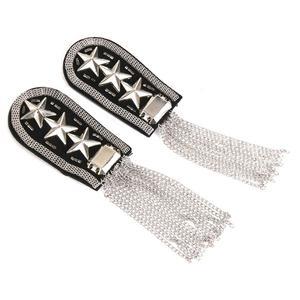 1 Pair Star Tassel Link Chain Epaulet Shoulder Badge, Silber