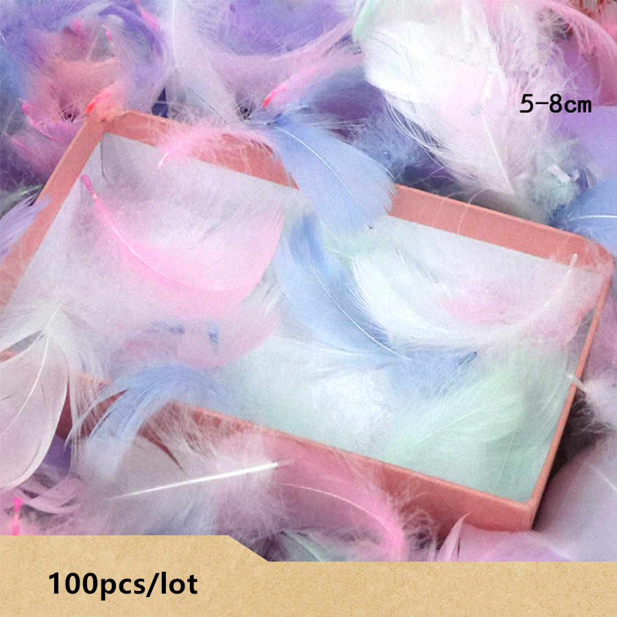 100 sztuk/partia kolorowe pióra prezent materiał do pakowania Box Filler Supplies Diy Craft Wedding Birthday Party Decoration akcesoria