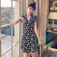 Vestido de verano 2020 vintage ropa de moda elegante pantalón corto casual manga A-line floral camisa vestido mujeres vestidos de talla grande robe