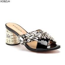 Sandalias de lujo para mujer, zapatos femeninos de marca, sandalias de diseñador hechas a mano con diamantes de imitación, zapatos de tacón de bloque de cuero negro, 2019