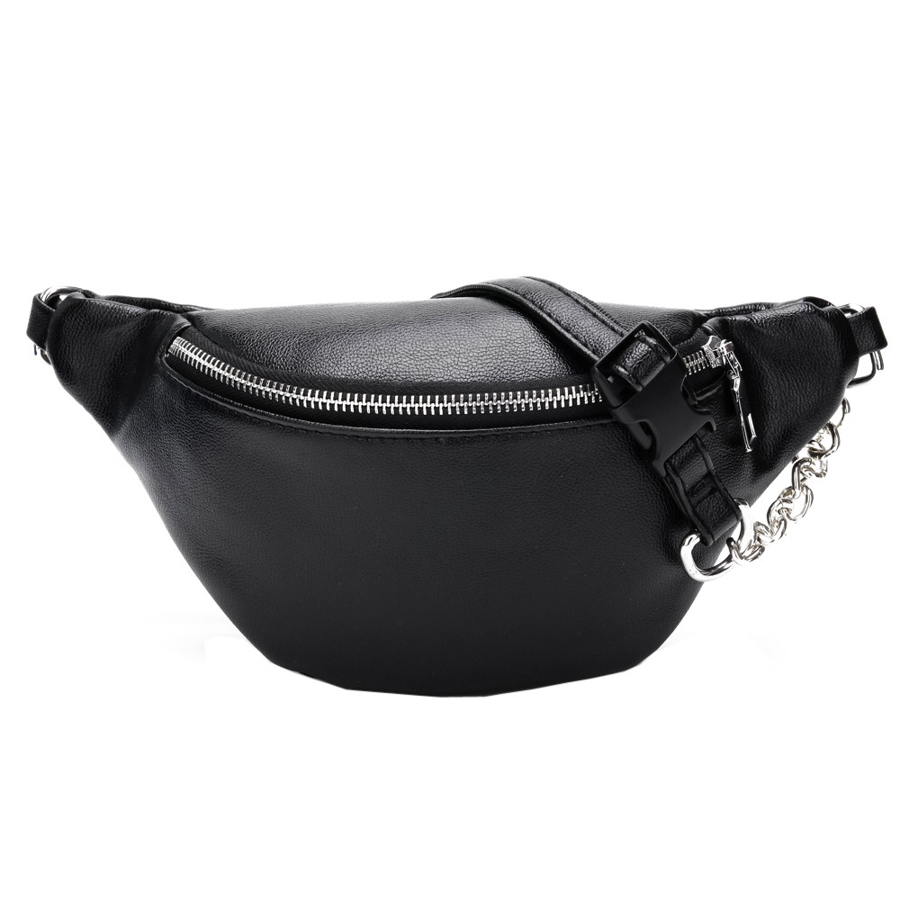 Fashion Chain Fanny Pack Banana Waist Bag New Brand Belt Bag Women Waist Pack PU Leather Chest bag Belly Bag New Quality #BL5(China)