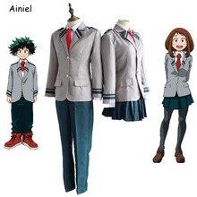 Anime boku nenhum herói academia meu herói academia cosplay traje midoriya izuku escola uniforme jaqueta saia calça gravata peruca