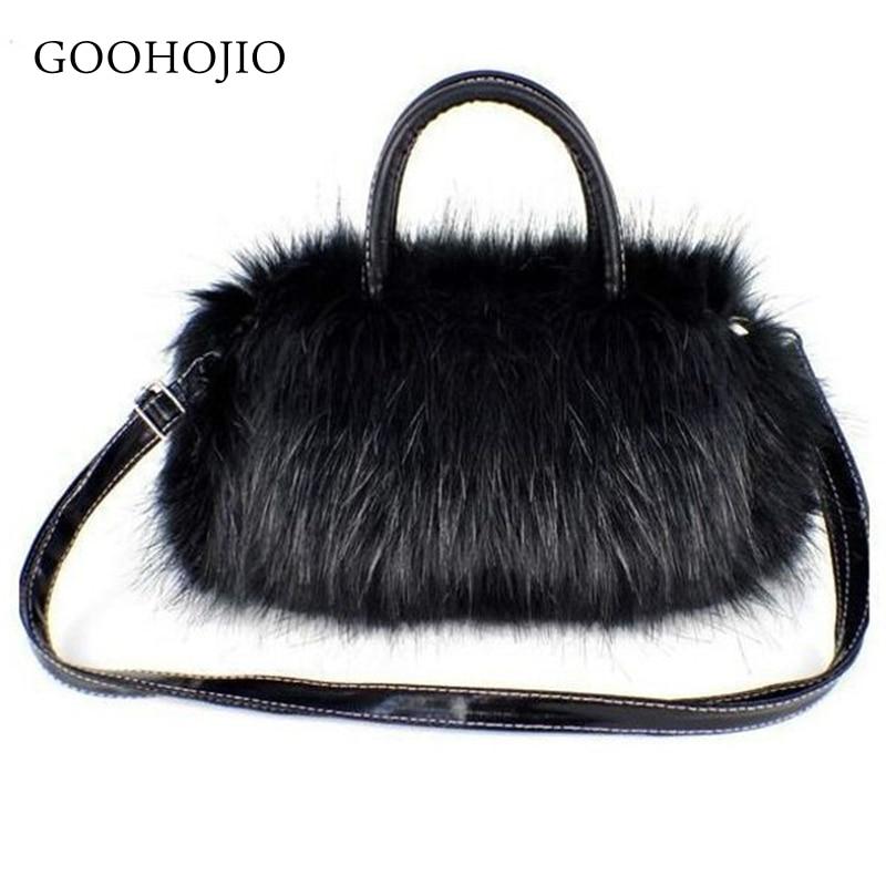 GOOHOJIO Winter Women Ladies Crossbody Tote Bags Hot Luxury Women Handbag Faux Rabbit Fur Designer Female Small Messenger Bags