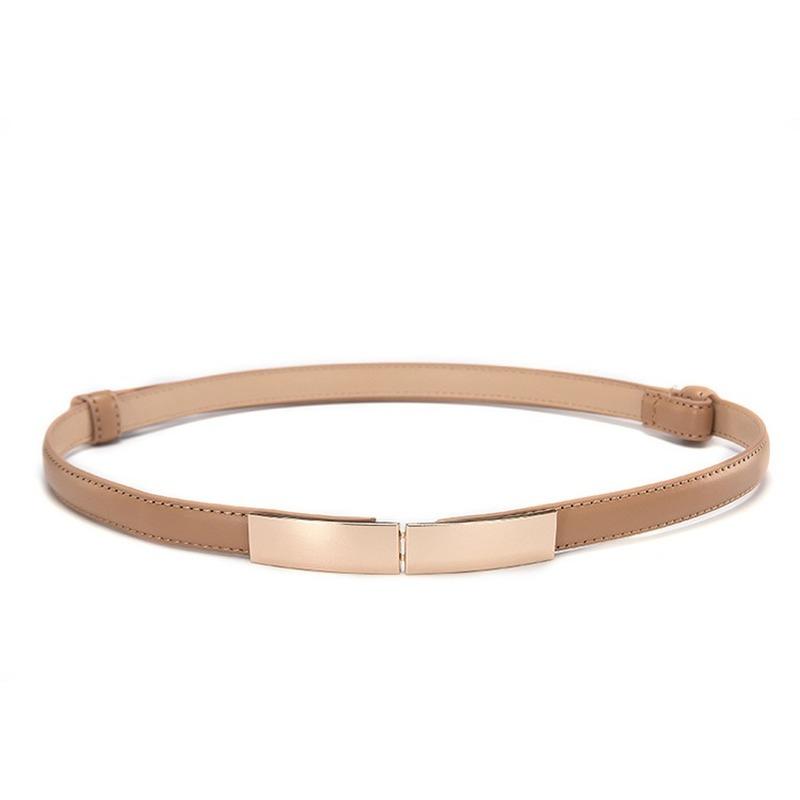 Belt dress simple versatile Fashion Women Leather Belt Thin Skinny Metal Gold Elastic Buckle Waistband Belt Dress Accessories