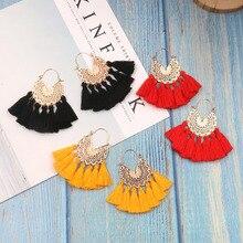 Bohemian Tassel Earrings Vintage Long Drop Earrings for Women Red Cotton Fringe Earrings 2019 Fashion Woman Jewelry
