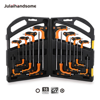 16PC T Handle Hex Key Wrench Set Hex Metric H2 H2.5 H3 H4 H5 H6 H8 H10 Torx T10 T15 T20 T25 T30 T30 T40 T45 T50 CRV Hand Tool