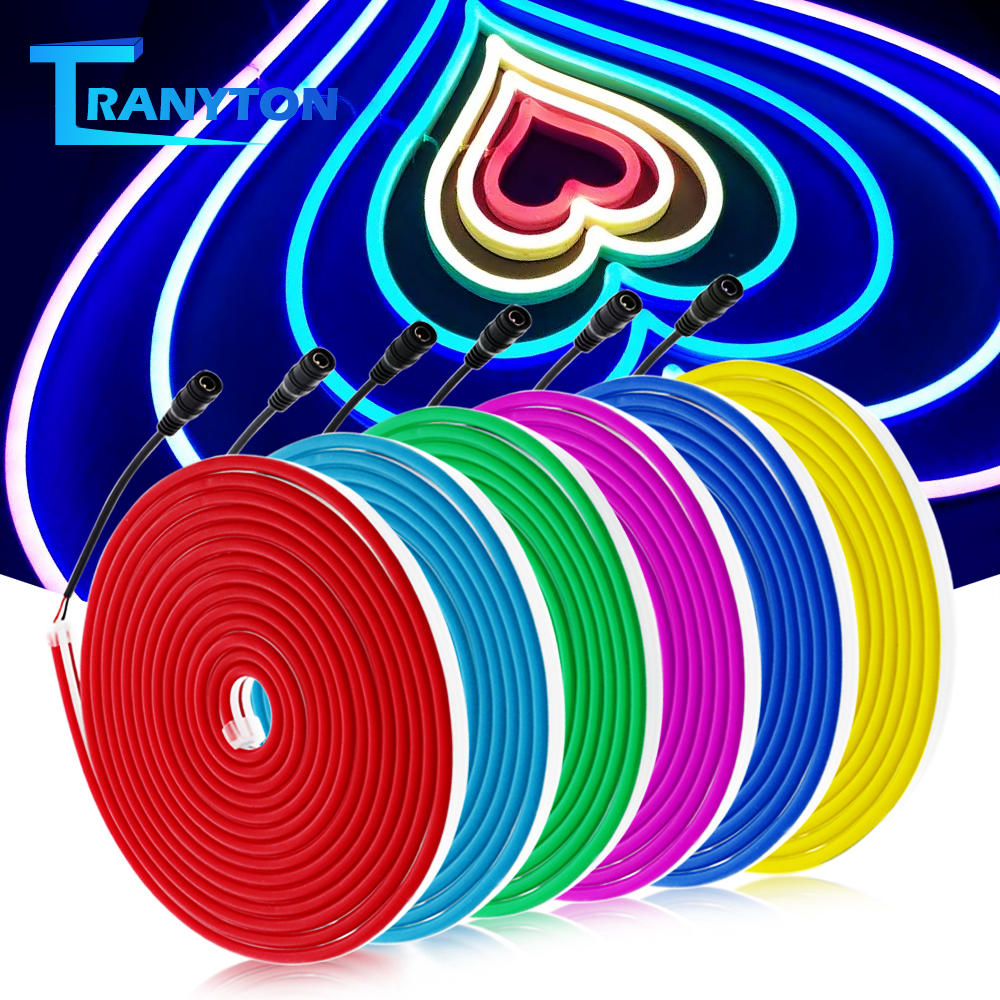 5m DC12V Flexible Neon Light 2835 Soft Light Tube Tape Waterproof LED Neon strips White Blue Pink Red Green Yellow Purple Orange