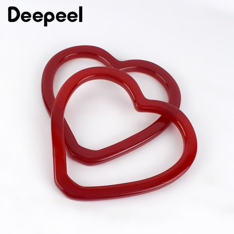 Deepeel 1/3pairs Red Heart-shaped Bag Hand Pull Resin Ring Handle Buckles DIY Purse Frame Decor Handle Bag Parts Accessories