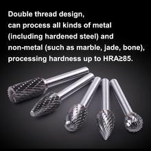 5 pçs/set sortidas 12mm cabeça de carboneto de tungstênio ponto rotativo rebarba morrer moedor bit 6mm shank fresa ferramenta abrasiva