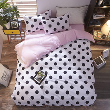 Geometric imitation cotton three or four piece set Four-piece single and double bed sheet quilt cover Solid color simple bedding home textile three piece bedding 2 pillowcases 1 quilt cover simple solid color 150 210 cm young bedroom supplies 2020 fashion