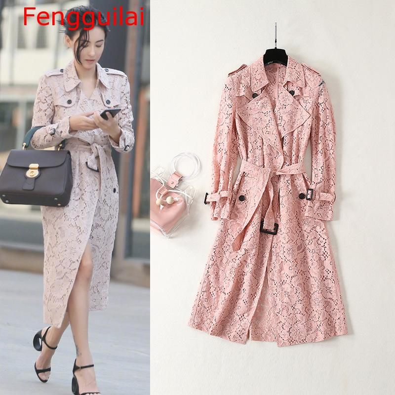 Womens high quality double-breasted lace trench coat  2019 spring brand new design belt windbreaker coat