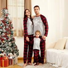 Семейная Рождественская Пижама одежда 2020 хлопок снег клетчатая