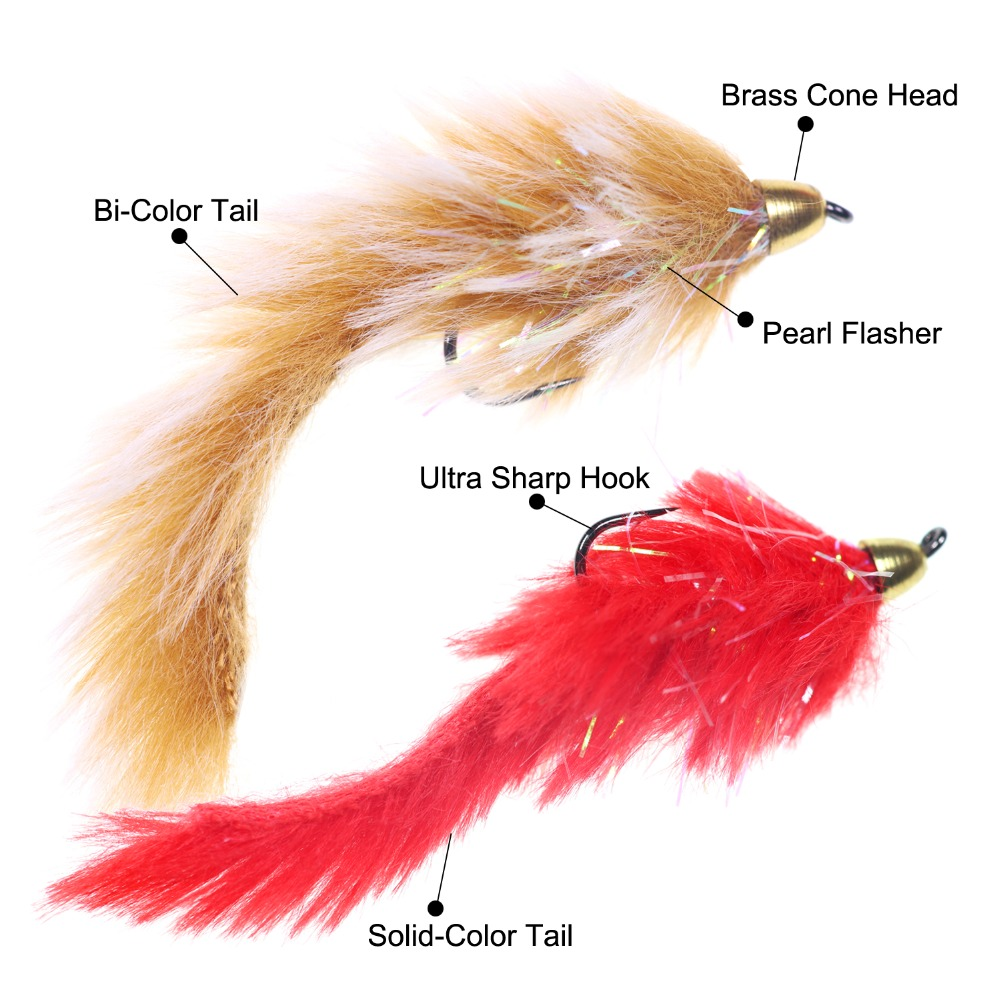 3 Colors//Set Size 1//0 Bass Pike Copper Beadhead Fly Fishing Streamers