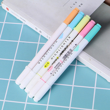 5 pcs/set Candy Color Dual Bold Fine Tip Milkliner Art Marker Pen Colorful Diary Decoration Highlighter Pens Stationery Painting