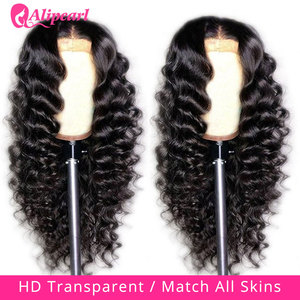 5x5 HD Transparent Lace Closure Wig Malaysian Loose Deep Wave Human Hair Wig For Women 180 Density Lace Wig AliPearl Hair Wig