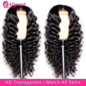 5x5 HD прозрачный парик с закрытием шнурка малазийские свободные глубокие волнистые человеческие волосы парик для женщин 180 плотность шнурка ...