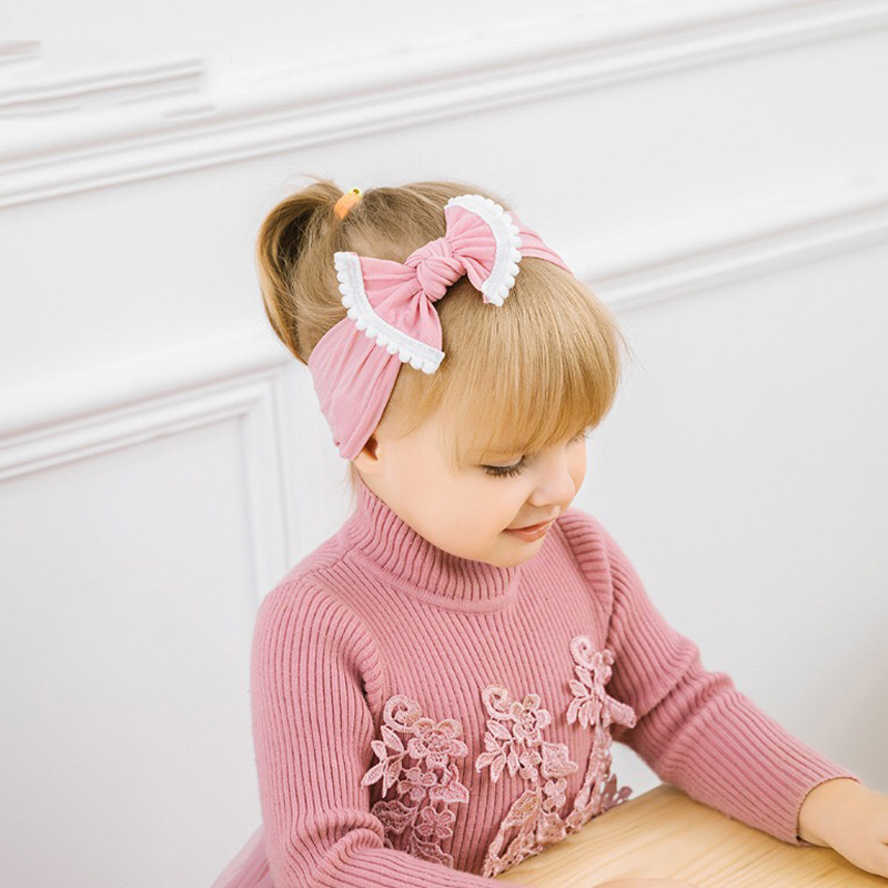 Lovely Baby Headband Turban Bow Newborn Baby Headbands Elastic Infant Toddler Hair Band Haarband Baby Girl Boy Hair Accessories